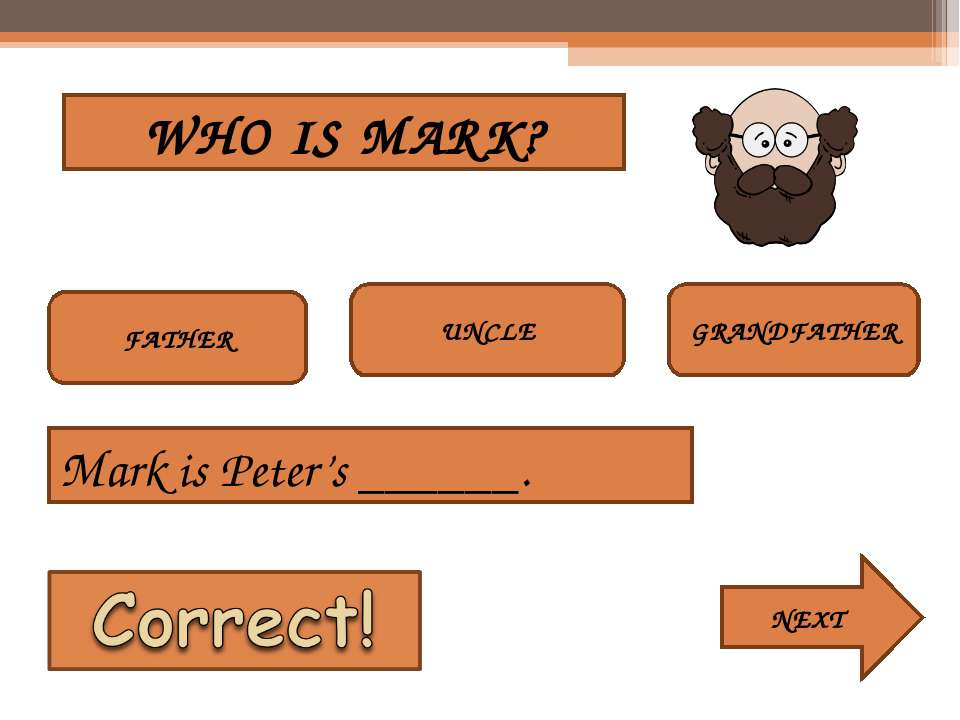 WHO IS MARK? FATHER UNCLE GRANDFATHER Mark is Peter's ______. NEXT