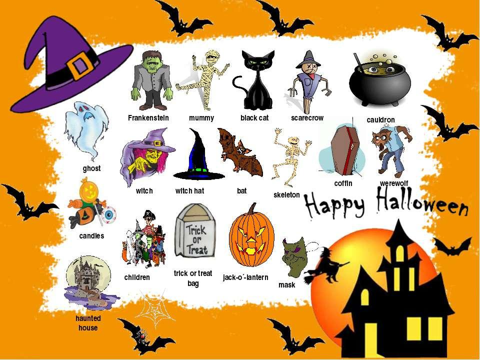 Frankenstein ghost werewolf mummy black cat scarecrow cauldron witch skeleton...