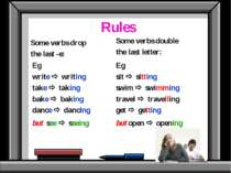 Rules Some verbs drop the last -e: Eg write writing take taking bake baking d...