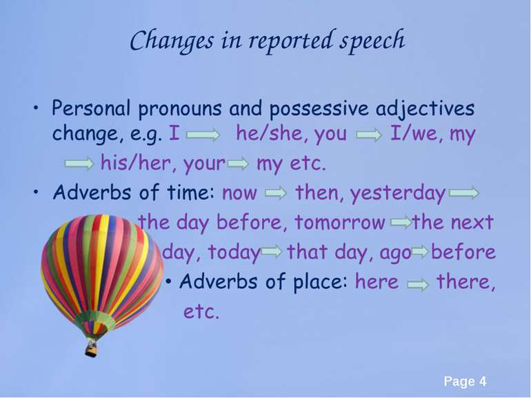 Changes in reported speech Page *