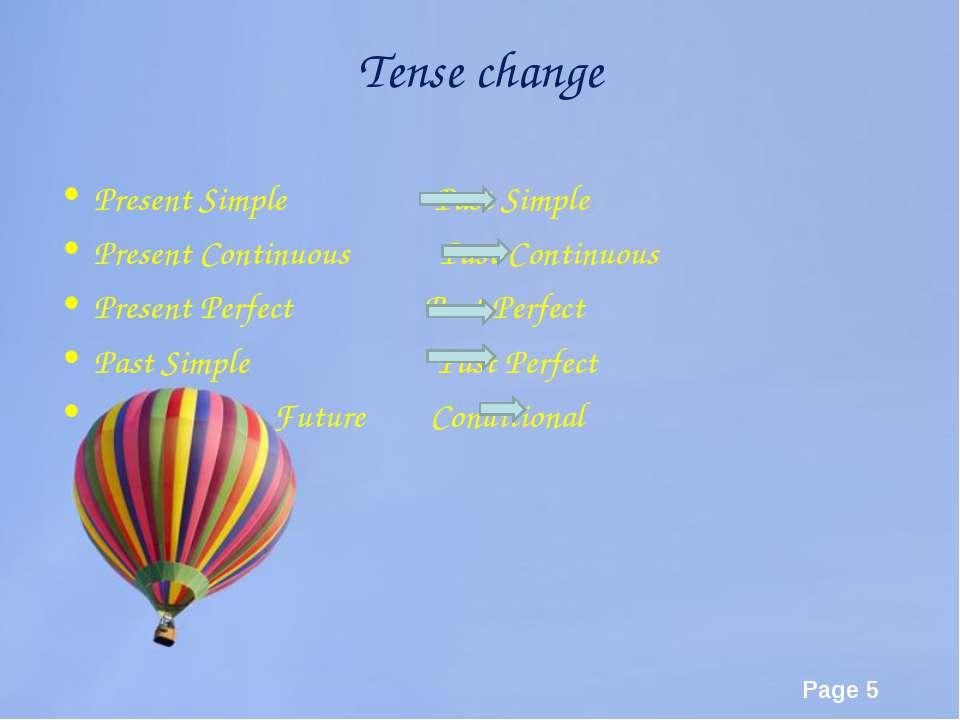 Tense change Present Simple Past Simple Present Continuous Past Continuous Pr...