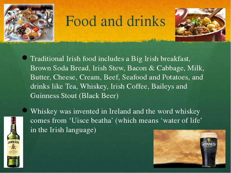Food and drinks Traditional Irish food includes a Big Irish breakfast, Brown ...
