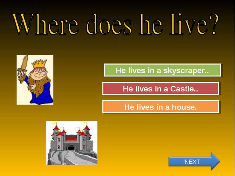Try Again Great Job! He lives in a skyscraper.. He lives in a Castle.. Try Ag...