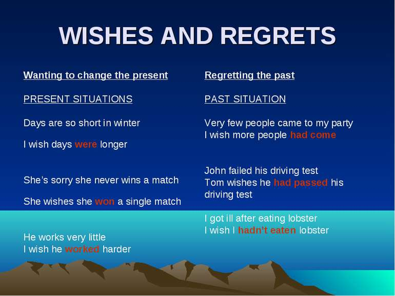WISHES AND REGRETS Wanting to change the present PRESENT SITUATIONS Days are ...
