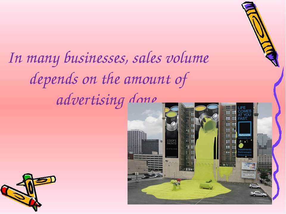 In many businesses, sales volume depends on the amount of advertising done.