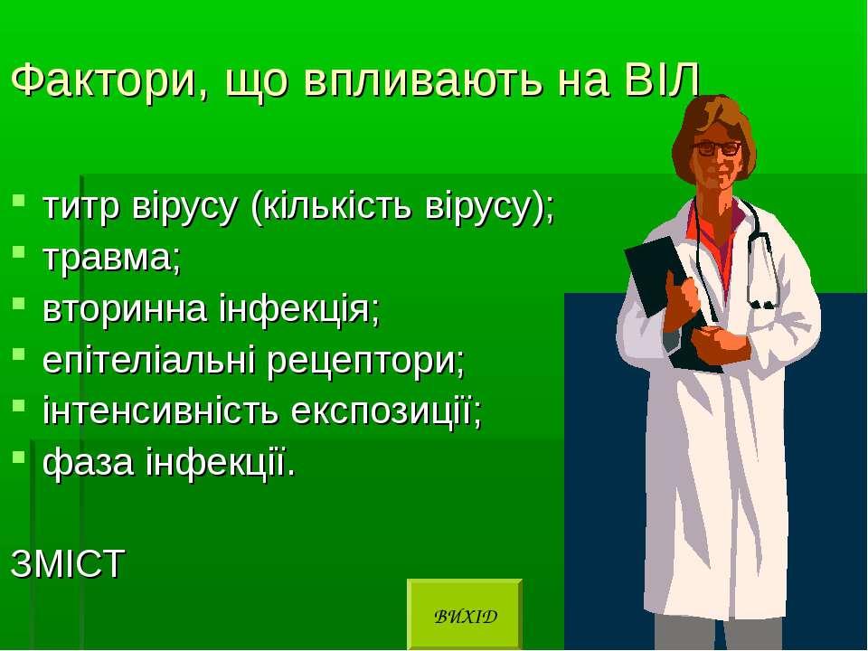 Фактори, що впливають на ВІЛ титр вірусу (кількість вірусу); травма; вторинна...