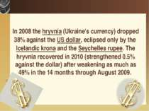 In 2008 the hryvnia (Ukraine's currency) dropped 38% against the US dollar, e...
