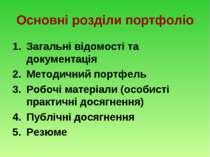 Основні розділи портфоліо Загальні відомості та документація Методичний портф...