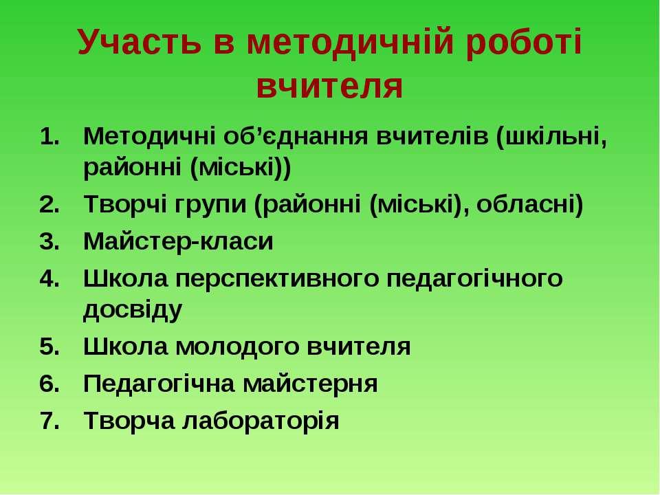 Участь в методичній роботі вчителя Методичні об'єднання вчителів (шкільні, ра...