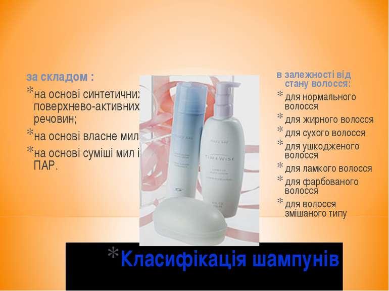 Класифікація шампунів за складом : на основі синтетичних поверхнево-активних ...