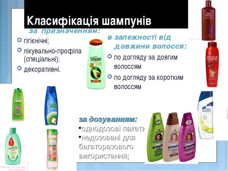 Класифікація шампунів за призначенням: гігієнічні; лікувально-профілактичні (...
