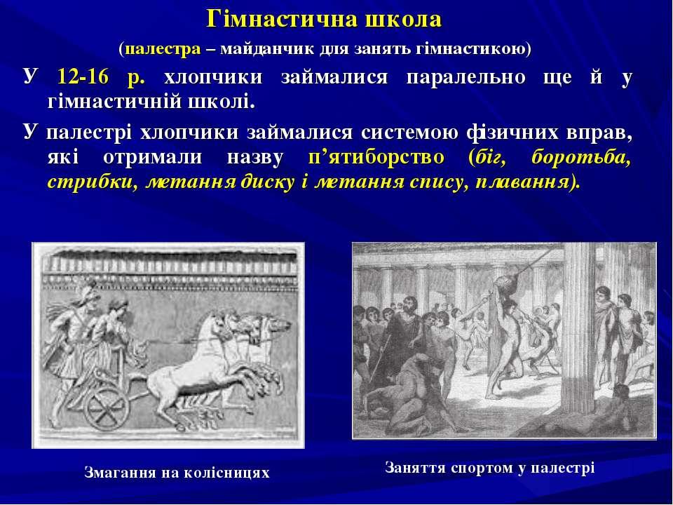 Гімнастична школа (палестра – майданчик для занять гімнастикою) У 12-16 р. хл...