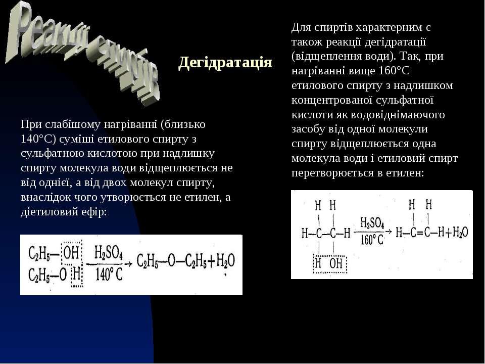 Дегідратація Для спиртів характерним є також реакції дегідратації (відщепленн...