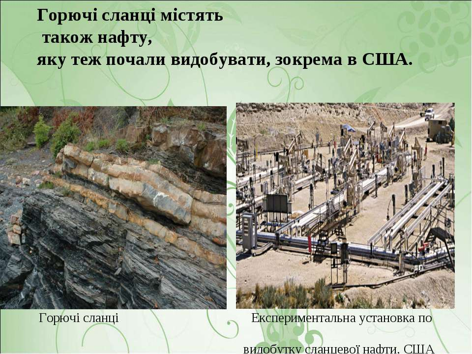 Горючі сланці містять також нафту, яку теж почали видобувати, зокрема в США. ...