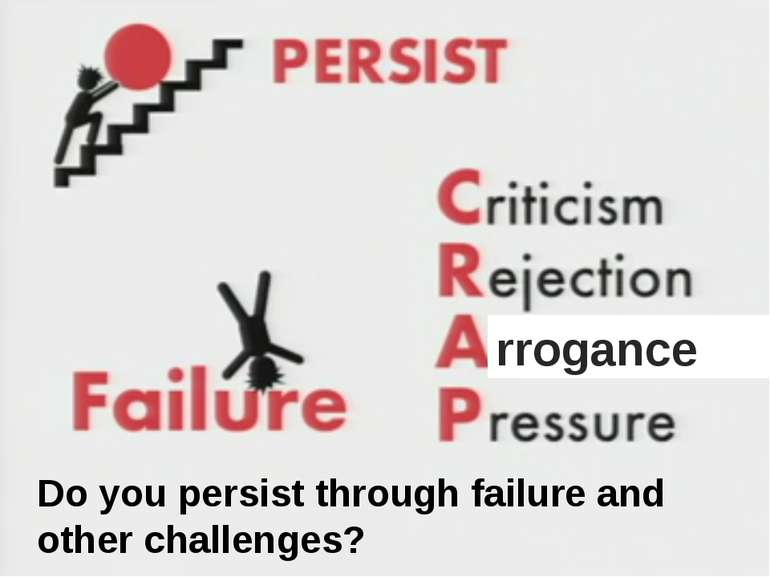 rrogance Do you persist through failure and other challenges? Do you persist ...