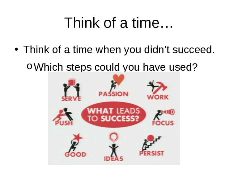 Think of a time… Think of a time when you didn't succeed. Which steps could y...