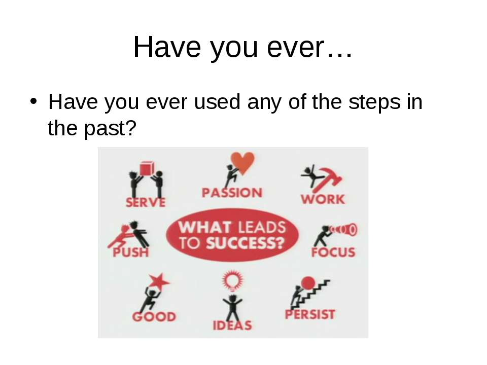 Have you ever… Have you ever used any of the steps in the past? The picture o...