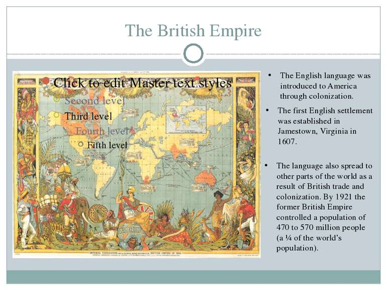 The British Empire The English language was introduced to America through col...