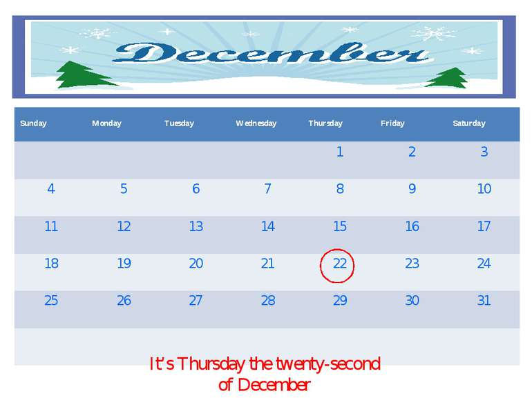 It's Thursday the twenty-second of December Sunday Monday Tuesday Wednesday T...