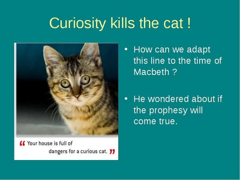 Curiosity kills the cat ! How can we adapt this line to the time of Macbeth ?...