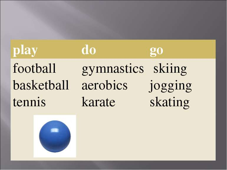 play do go football basketball tennis gymnastics aerobics karate skiing joggi...
