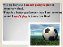 *My leg hurts so I am not going to play in tomorrow final. *Peter is a better...