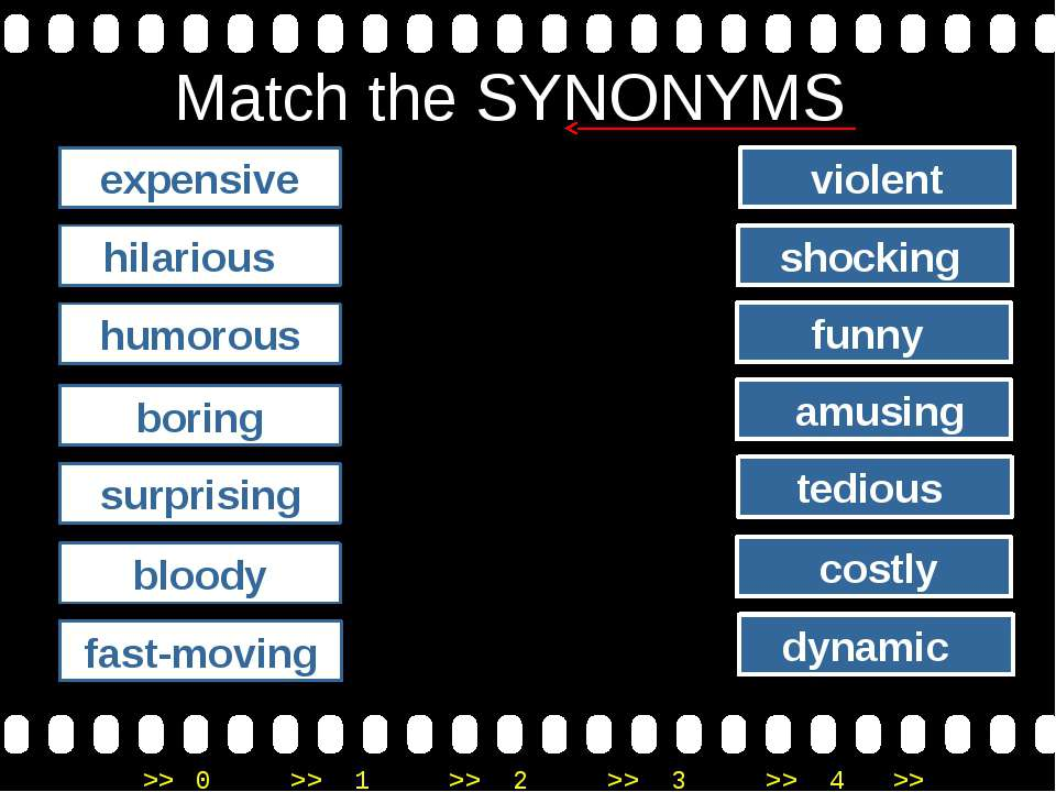 Match the SYNONYMS expensive hilarious humorous boring surprising bloody amus...