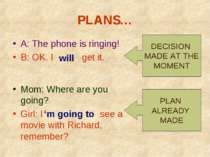 PLANS… A: The phone is ringing! B: OK. I get it. Mom: Where are you going? Gi...