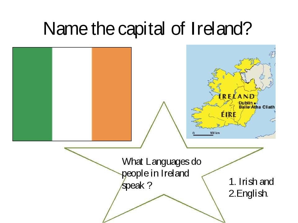 Name the capital of Ireland? What Languages do people in Ireland speak ? 1. I...