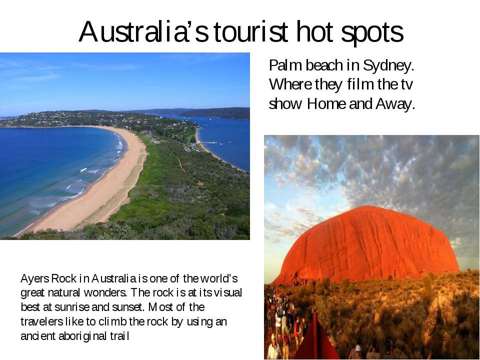 Australia's tourist hot spots Palm beach in Sydney. Where they film the tv sh...