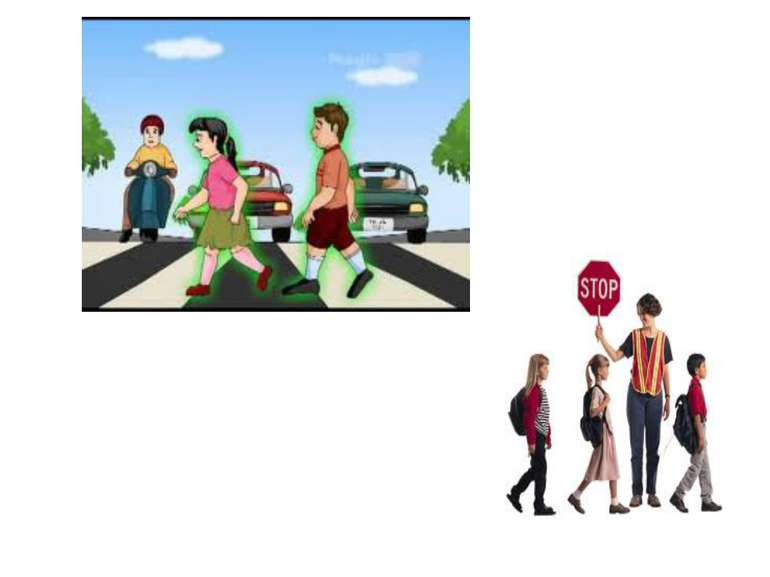 Cross street at the pedestrian crossing, have a helper controlling traffic