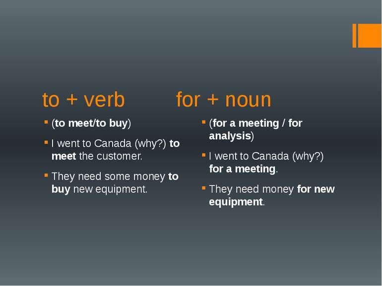 to + verb for + noun (to meet/to buy) I went to Canada (why?) to meet the cus...