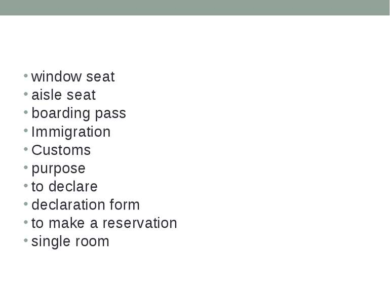 window seat aisle seat boarding pass Immigration Customs purpose to declare d...