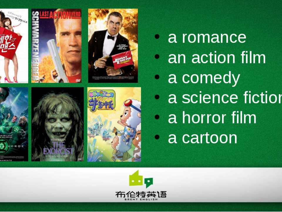 a romance an action film a comedy a science fiction film a horror film a cartoon