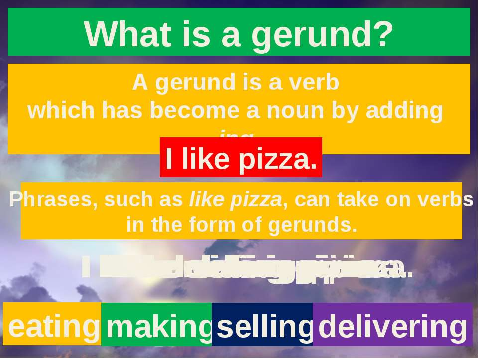 What is a gerund? A gerund is a verb which has become a noun by adding ing. I...