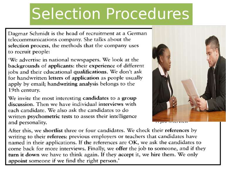 Selection Procedures