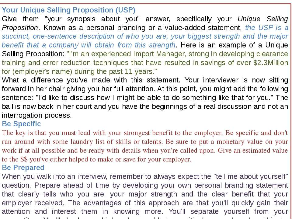 "Your Unique Selling Proposition (USP) Give them ""your synopsis about you"" ans..."