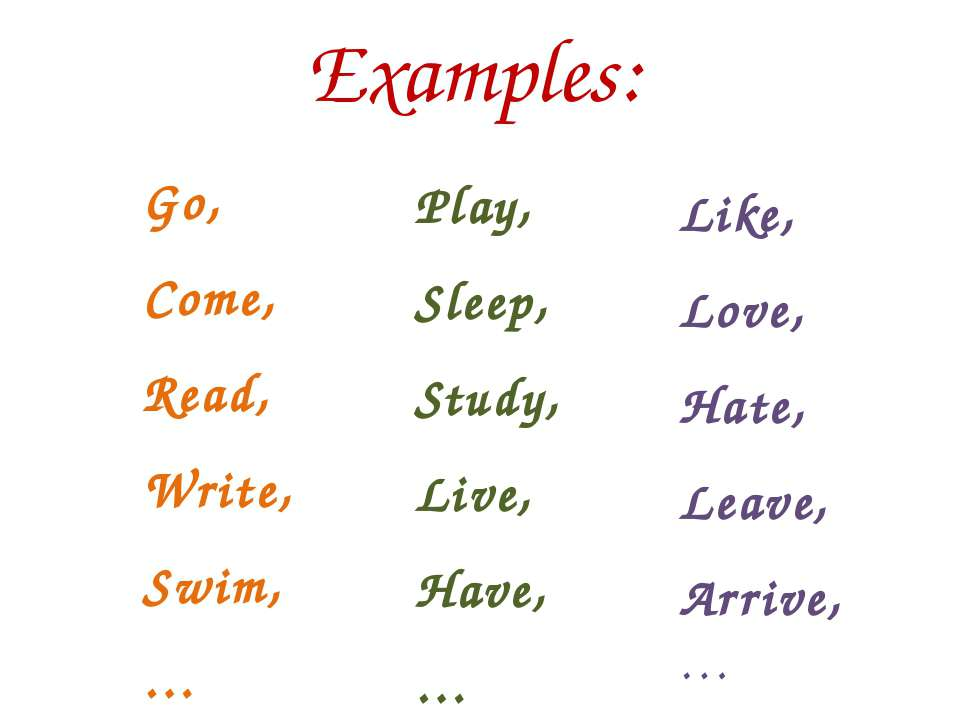 Examples: Go, Come, Read, Write, Swim, … Play, Sleep, Study, Live, Have, … Li...