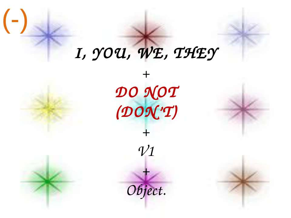 I, YOU, WE, THEY + DO NOT (DON'T) + V1 + Object. (-)