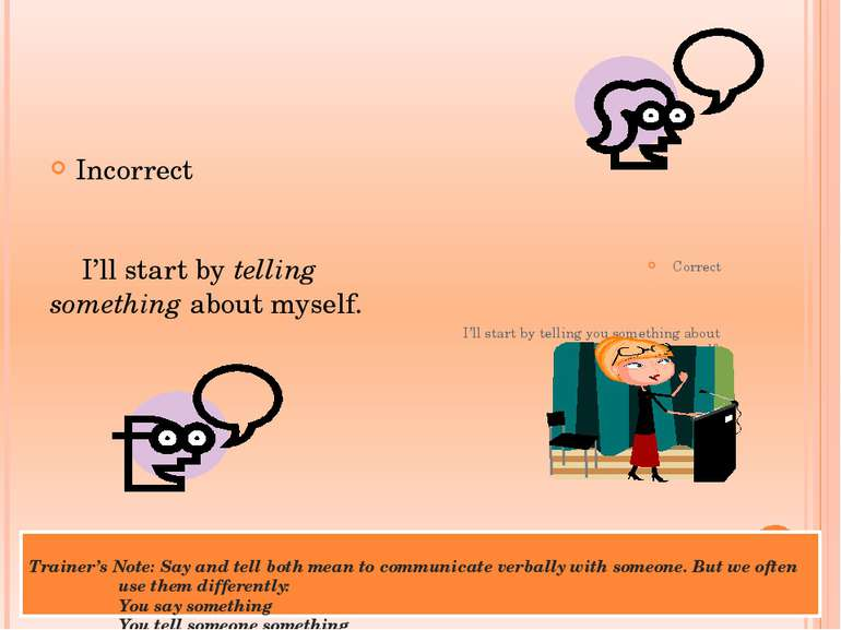Trainer's Note: Say and tell both mean to communicate verbally with someone. ...