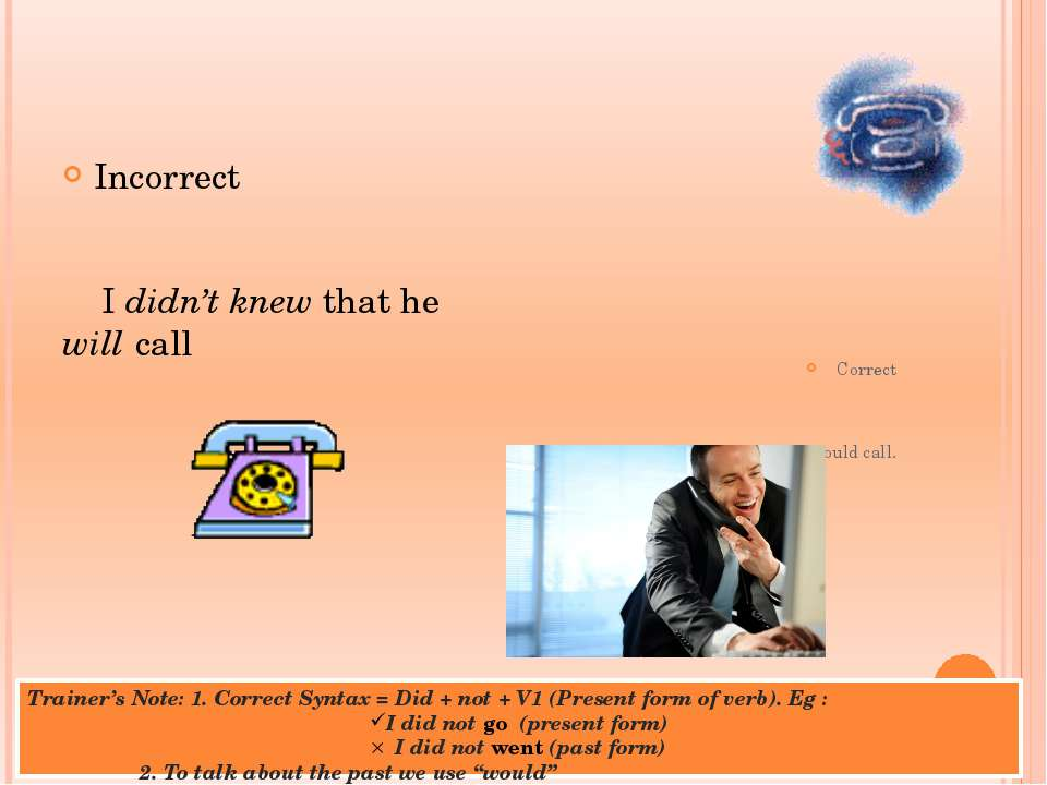 Trainer's Note: 1. Correct Syntax = Did + not + V1 (Present form of verb). Eg...