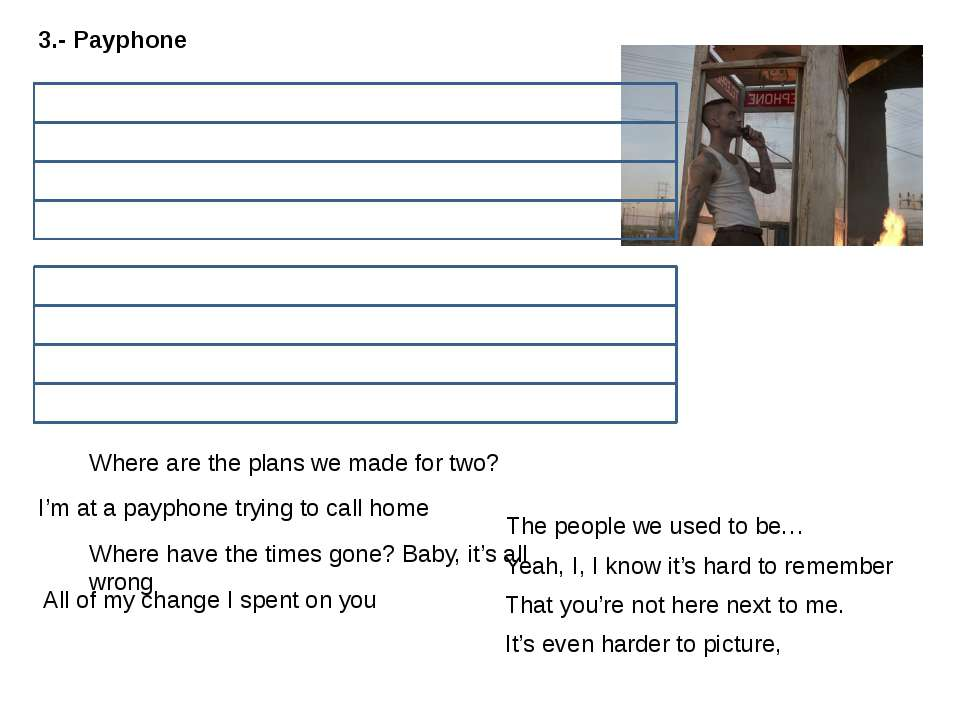 3.- Payphone I'm at a payphone trying to call home All of my change I spent o...