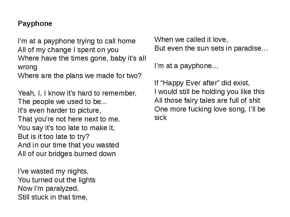 Payphone I'm at a payphone trying to call home All of my change I spent on yo...