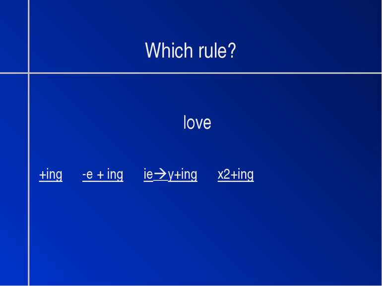 Which rule? love +ing -e + ing ie y+ing x2+ing