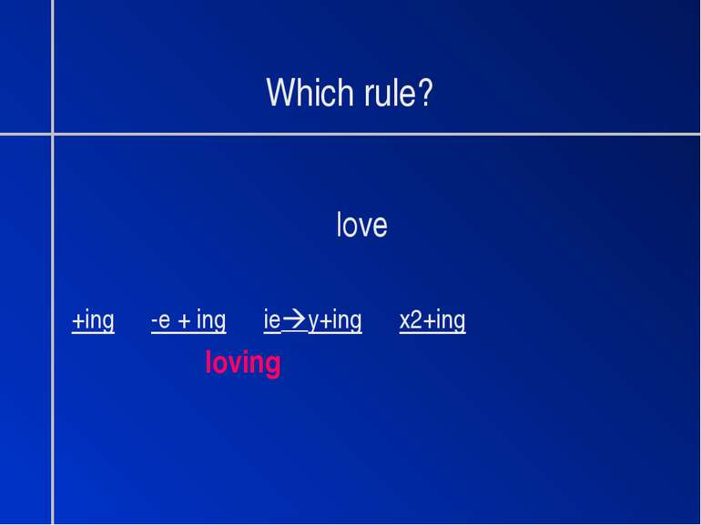 Which rule? love +ing -e + ing ie y+ing x2+ing loving