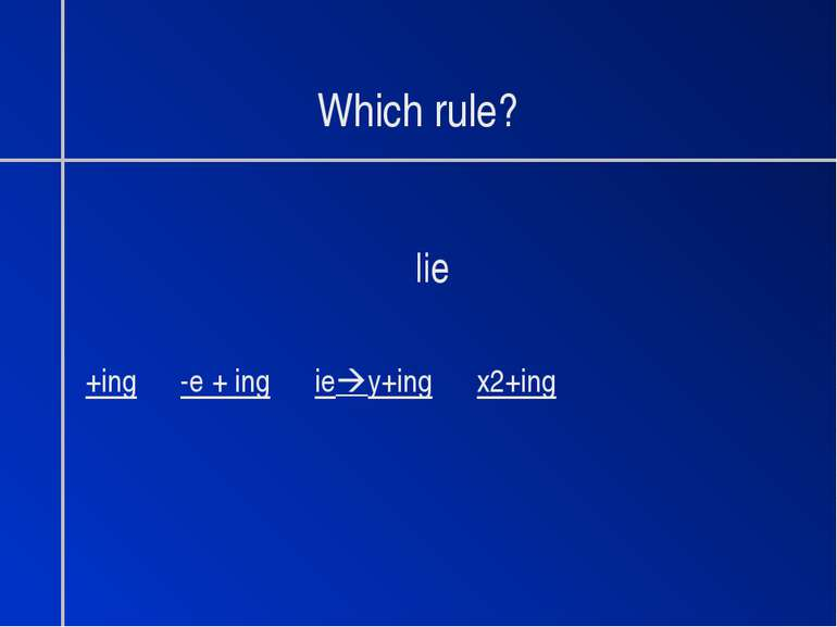 Which rule? lie +ing -e + ing ie y+ing x2+ing