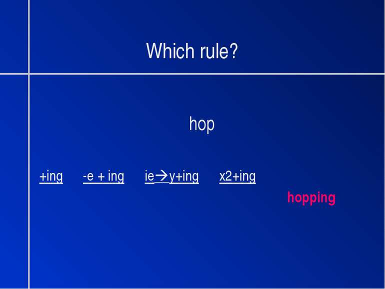 Which rule? hop +ing -e + ing ie y+ing x2+ing hopping