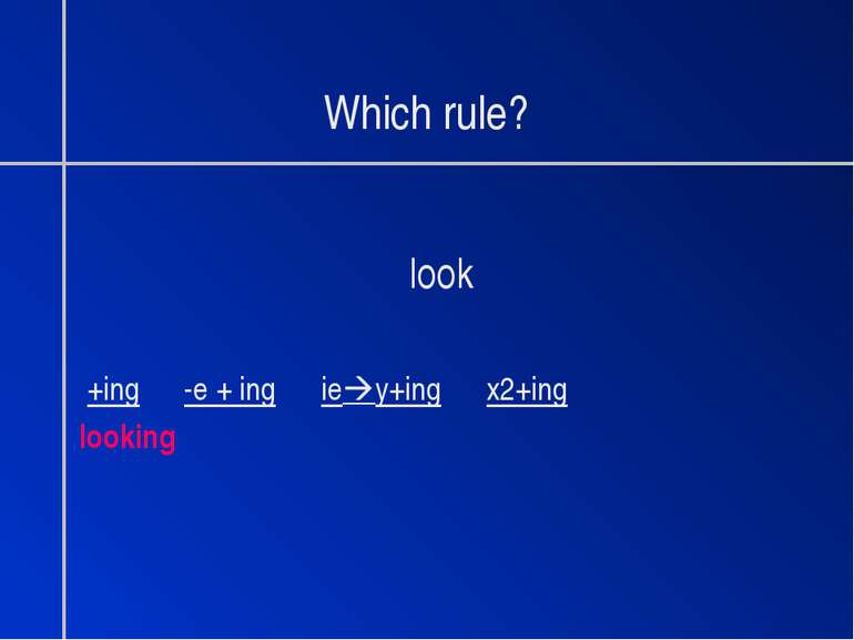Which rule? look +ing -e + ing ie y+ing x2+ing looking