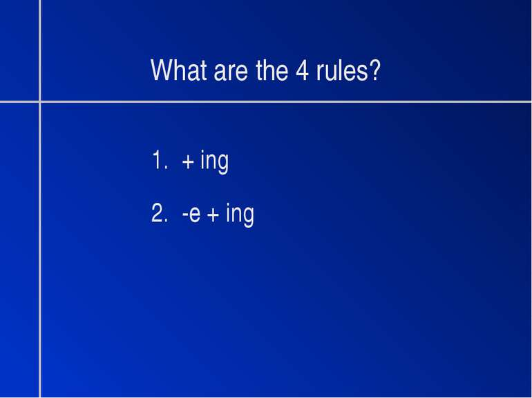 What are the 4 rules? 1. + ing 2. -e + ing