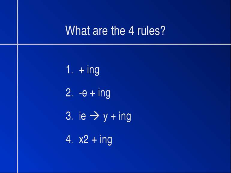 What are the 4 rules? 1. + ing 2. -e + ing 3. ie y + ing 4. x2 + ing